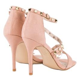 Bello Star Różowe sandałki na szpilce 2