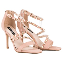 Bello Star Różowe sandałki na szpilce 3