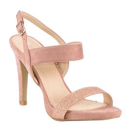 Sandałki na szpilce vinceza różowe 1