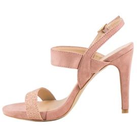 Sandałki na szpilce vinceza różowe 2