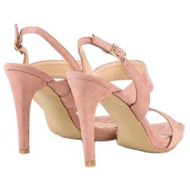 Sandałki na szpilce vinceza różowe 3