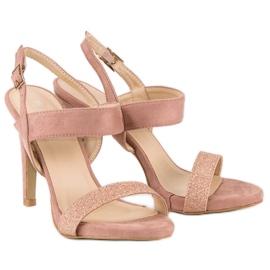 Sandałki na szpilce vinceza różowe 4