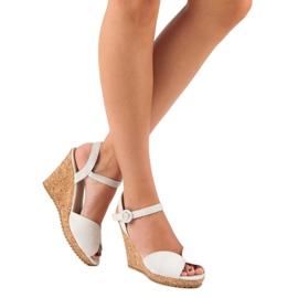 Sandały na korkowej koturnie szare 6