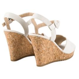 Sandały na korkowej koturnie szare 3