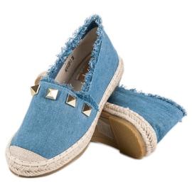 Bestelle Jeansowe espadryle z dżetami niebieskie 2