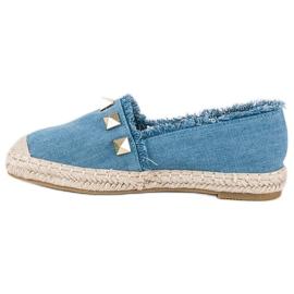 Bestelle Jeansowe espadryle z dżetami niebieskie 1