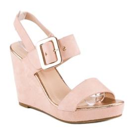 Bello Star Zamszowe sandały na koturnie różowe 2