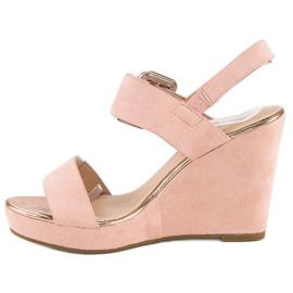 Bello Star Zamszowe sandały na koturnie różowe 3
