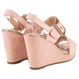 Bello Star Zamszowe sandały na koturnie różowe 4