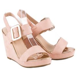 Bello Star Zamszowe sandały na koturnie różowe 5