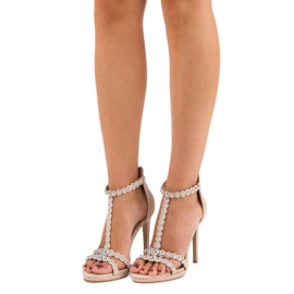 Eleganckie beżowe sandałki beżowy 5