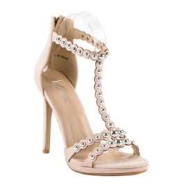 Eleganckie beżowe sandałki beżowy 1
