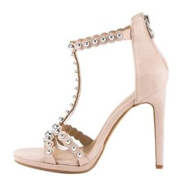 Eleganckie beżowe sandałki beżowy 2