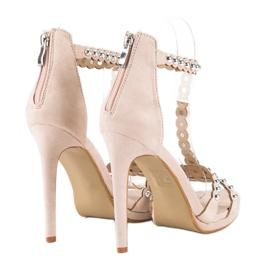 Eleganckie beżowe sandałki beżowy 3