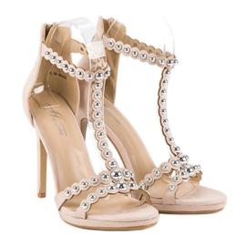 Eleganckie beżowe sandałki beżowy 4