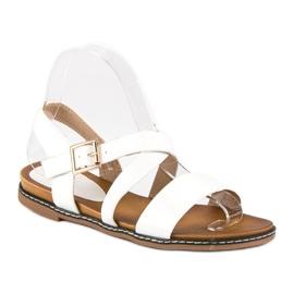 Bello Star Płaskie sandały na sprzączkę białe 3
