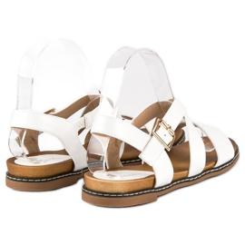 Bello Star Płaskie sandały na sprzączkę białe 1