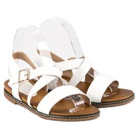 Bello Star Płaskie sandały na sprzączkę białe 2