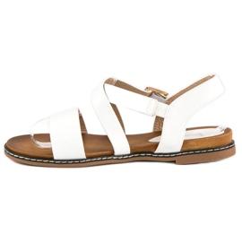 Bello Star Płaskie sandały na sprzączkę białe 4