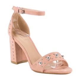 Wygodne sandały na słupku różowe 1