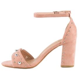 Wygodne sandały na słupku różowe 2