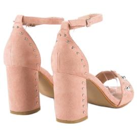Wygodne sandały na słupku różowe 3