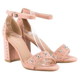 Wygodne sandały na słupku różowe 4