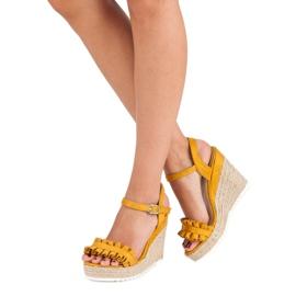 Bello Star Żółte sandały espadryle 2