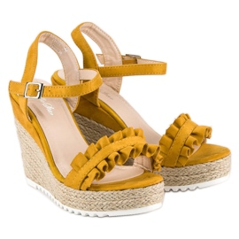 Bello Star Żółte sandały espadryle 5