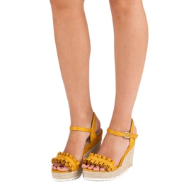 Bello Star Żółte sandały espadryle 1