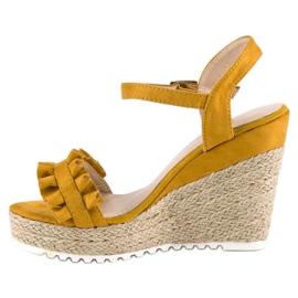 Bello Star Żółte sandały espadryle 3
