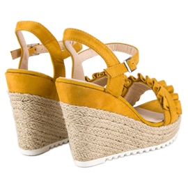 Bello Star Żółte sandały espadryle 4