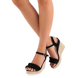 Bello Star Czarne sandały espadryle 5