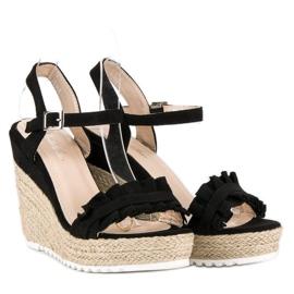 Bello Star Czarne sandały espadryle 6
