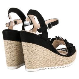 Bello Star Czarne sandały espadryle 1