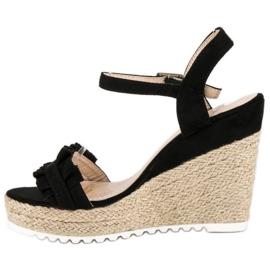 Bello Star Czarne sandały espadryle 3