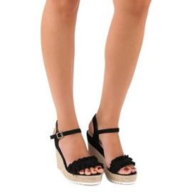 Bello Star Czarne sandały espadryle 4