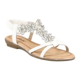 Eleganckie płaskie sandałki białe 1