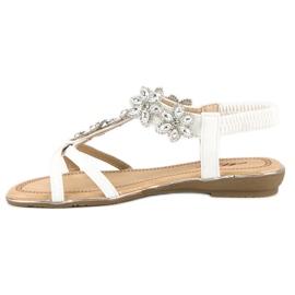 Eleganckie płaskie sandałki białe 2