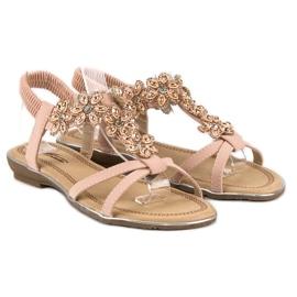 Eleganckie płaskie sandałki różowe 1