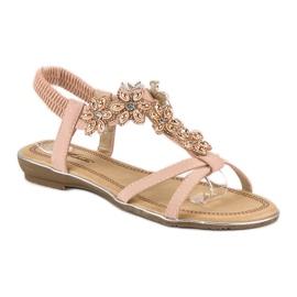 Eleganckie płaskie sandałki różowe 2