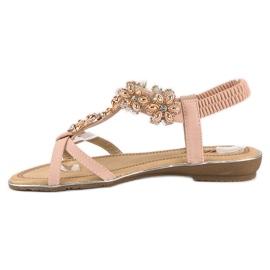 Eleganckie płaskie sandałki różowe 3