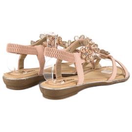 Eleganckie płaskie sandałki różowe 4