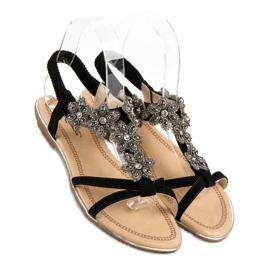 Eleganckie płaskie sandałki czarne 1