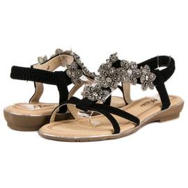 Eleganckie płaskie sandałki czarne 2