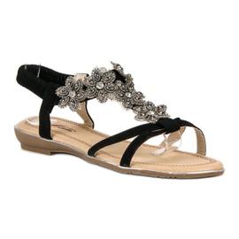 Eleganckie płaskie sandałki czarne 3