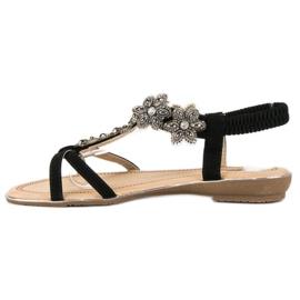 Eleganckie płaskie sandałki czarne 4