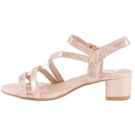 Ideal Shoes Sandały na płaskim obcasie różowe 2