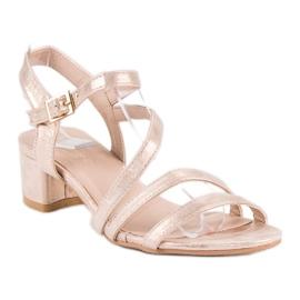 Ideal Shoes Sandały na płaskim obcasie różowe 1