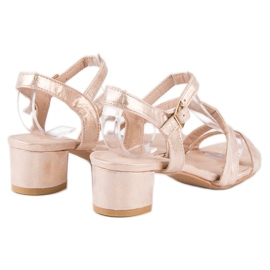 Ideal Shoes Sandały na płaskim obcasie różowe 3